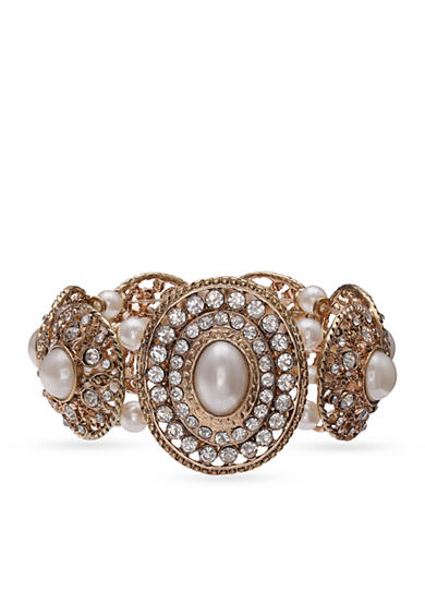 Jules B Gold-Tone Girls & Their Pearls Disc Stretch Bracelet