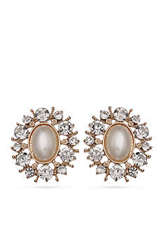 Jules B Gold-Tone Crystal Button Earrings
