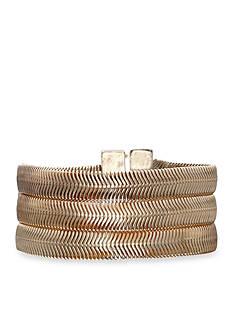 Jules B Gold-Tone Snake Charmer Gold Snake Chain Magnetic Bracelet