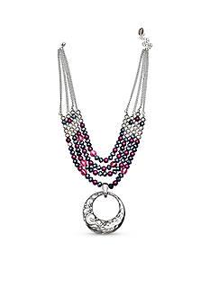 Jules B Silver-Tone Purple Rain Multistrand Pendant Necklace