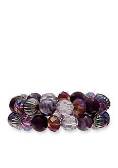 Jules B Purple Rain Double Row Bead Stretch Bracelet
