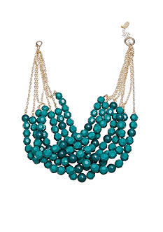 Jules B Gold-Tone Bauble Bazaar Teal Multi Strand Bead Necklace