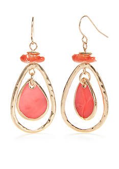 Kim Rogers® Gold-Tone Coral Shell Teardrop Earrings