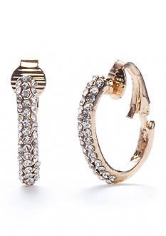 Kim Rogers Gold-Tone Crystal Hoop Clip Earrings