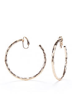 Kim Rogers Gold-Tone Hammered Gold Hoop Earrings