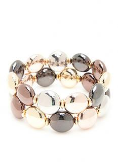 Kim Rogers Tri-Tone Metal Fab Stretch Bracelet Set