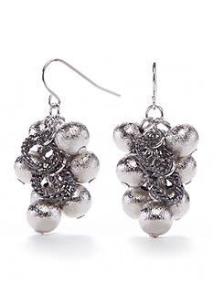 Kim Rogers Silver-Tone Metal Scrunch Cluster Drop Earrings