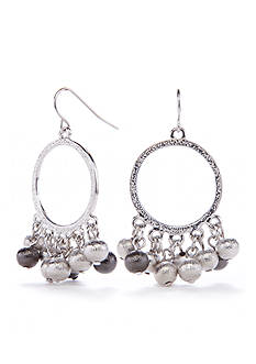 Kim Rogers Silver-Tone Metal Scrunch Shaky Gypsy Earrings
