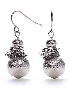 Kim Rogers Silver-Tone Metal Scrunch Double Drop Earrings