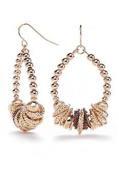 Kim Rogers Gold-Tone Metal Scrunch Gypsy Earrings