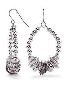 Kim Rogers Silver-Tone Metal Scrunch Gypsy Earrings