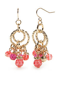 Kim Rogers® Gold-Tone Blazin Pink Chandelier Earrings