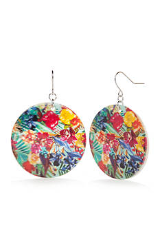 Kim Rogers® Silver-Tone Paradiso Large Disc Drop Earrings