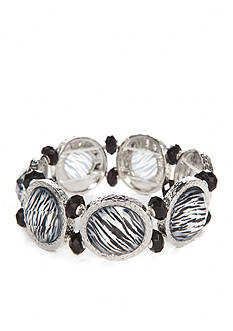 Kim Rogers Silver-Tone Animal Print Black & White Stretch Bracelet