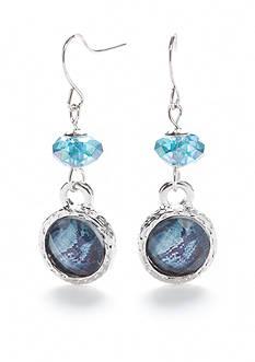 Kim Rogers Silver-Tone Animal Print Blue Double Drop Earrings