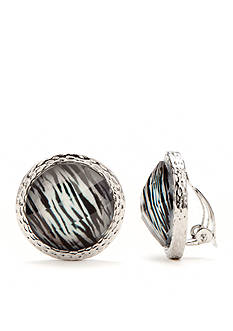 Kim Rogers Silver-Tone Animal Print Clip Earrings