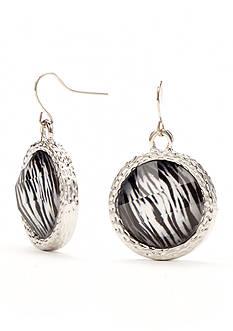 Kim Rogers Silver-Tone Animal Print Drop Disc Earrings
