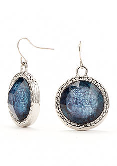 Kim Rogers Silver-Tone Animal Print Blue Drop Disc Earrings