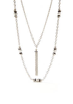 Kim Rogers Silver-Tone Metal Scrunch Double Strand Long Tassel Necklace