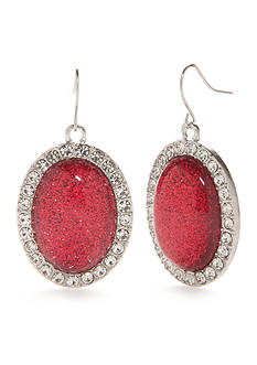 Kim Rogers® Silver-Tone Faceted Stone Drop Earrings