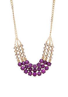 Kim Rogers Gold-Tone Purple Reign Statement Short Necklace