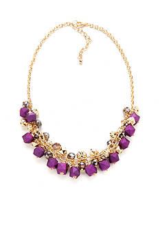 Kim Rogers Gold-Tone Purple Reign Short Shaky Necklace