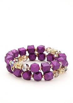 Kim Rogers Gold-Tone Purple Reign Bead Bracelet