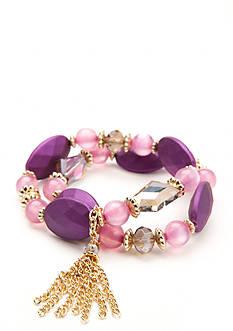 Kim Rogers Gold-Tone Purple Reign Tassel Stretch Bracelet