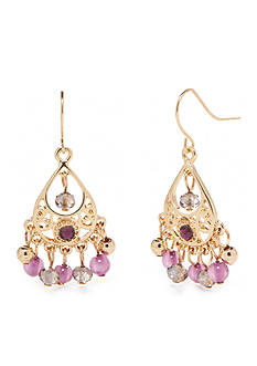 Kim Rogers® Gold-Tone Purple Reign Chandelier Earrings
