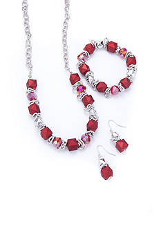 Kim Rogers Silver-Tone Red Earrings, Necklace and Bracelet Set