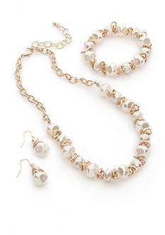 Kim Rogers Gold-Tone White Earrings, Necklace and Bracelet Set