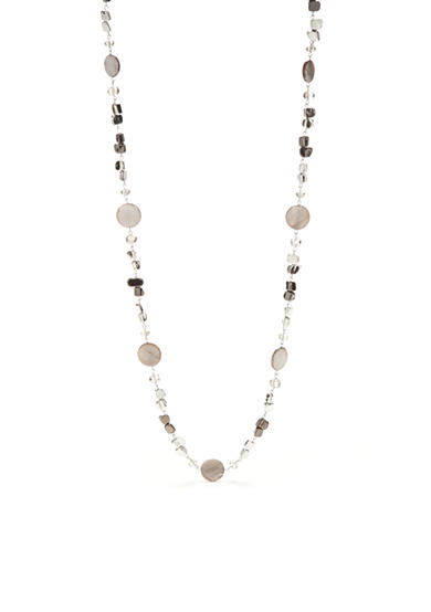 Kim Rogers® Silver Crackle Shell Long Necklace
