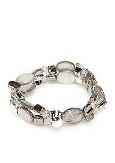 Kim Rogers Silver-Tone Crackle Shell Stretch Bracelet