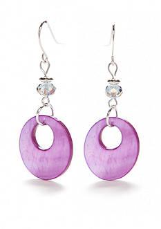 Kim Rogers Silver-Tone Crackle Shell Purple Disc Drop Earrings