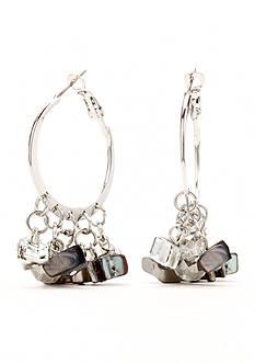 Kim Rogers Silver-Tone Crackle Shell Hoop Earrings