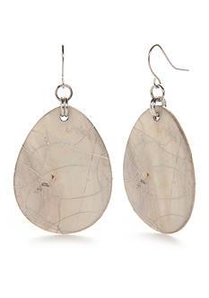Kim Rogers Silver- Tone Crackle Shell Teardrop Earrings