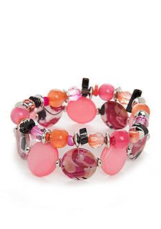 Kim Rogers Silver-Tone Poetic Rose Stretch Bracelet Set