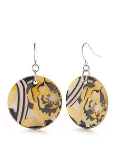 Kim Rogers Silver-Tone Sunny Days Disc Drop Earrings