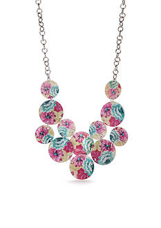 Kim Rogers Silver-Tone Floral Meadow Disc Statement Necklace