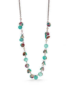 Kim Rogers Silver-Tone Floral Meadow Long Shaky Necklace