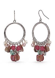 Kim Rogers Silver-Tone Floral Meadow Fringe Hoop Earrings