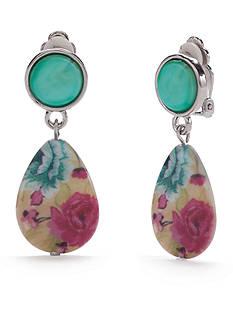 Kim Rogers Silver-Tone Floral Meadow Teardrop Clip Earrings