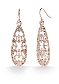 Kim Rogers Rose Gold-Tone Blushing Beauty Teardrop Earrings