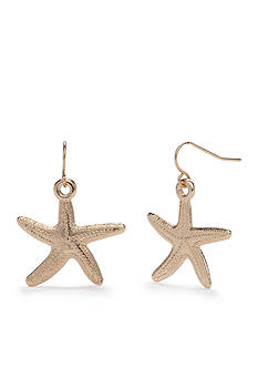 Kim Rogers Gold-Tone High Seas Starfish Drop Earrings