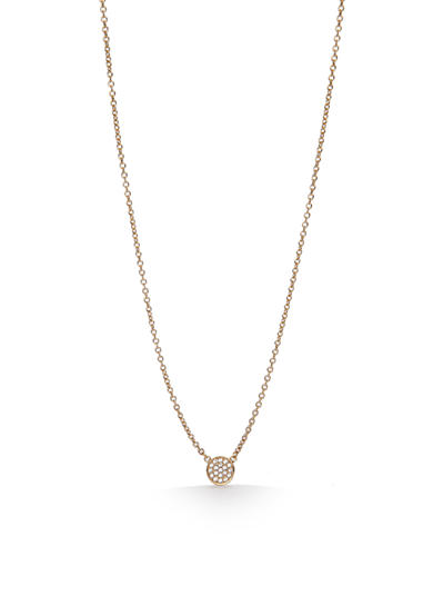 kate spade new york® Gold-Tone Dainty Sparklers Pave Disc Pendant Necklace