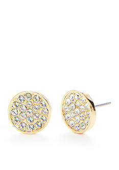 kate spade new york 14K Gold Plated Dainty Sparklers Pave Disc Stud Earrings