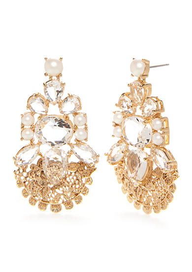 kate spade new york® Gold-Tone Crystal and Pearl Drop Earrings