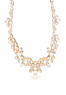 kate spade new york Gold-Tone Crystal and Pearl Small Statement Necklace