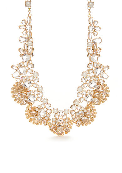 kate spade new york® Gold-Tone Crystal and Pearl Statement Necklace