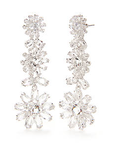 kate spade new york Silver-Tone Crystal Flower Statement Earrings
